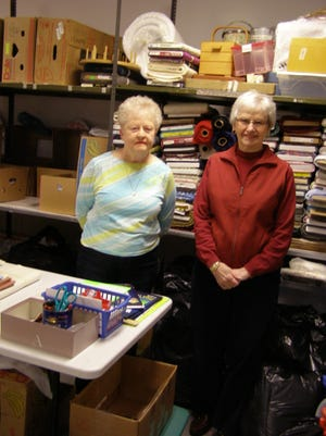Peg Etter and Doris Pittman will lead a group of active and dedicated volunteers on May 4 as the Salvation Army Women's Auxiliary launches its 25th Annual Fabric Fair.