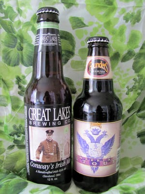 Great Lakes Brewing's Conway's Irish Ale and Founders Brewing's Imperial Stout.