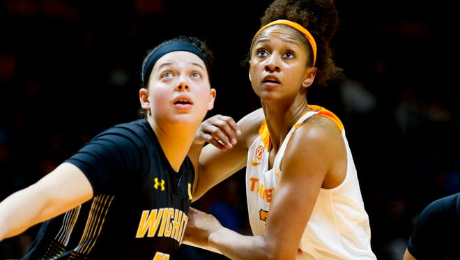 Tennessee's Jaime Nared (31) and Wichita State's Sabrina Lozada-Cabbage (11) eye the rebound during a game between the Tennessee Lady Vols and Wichita State at Thompson-Boling Arena in Knoxville, Tennessee on Monday, November 20, 2017.
