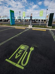 Electric vehicle charging station at Tanger Outlets