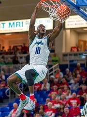 FGCU junior forward Kevin Mickle in Dunk City mode.
