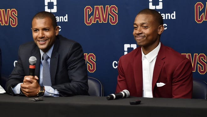 Cleveland Cavaliers general manager Koby Altman introduces new Cavaliers player Isaiah Thomas during a press conference at Cleveland Clinics Courts.