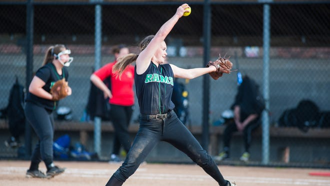 Parkside starting pitcher Maggie Cannon (9) throws to a Bennett batter at James M. Bennett High on Thursday afternoon.