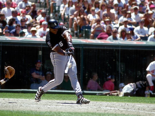 Chicago White Sox 1st baseman Frank Thomas hitting against the Cleveland Indians at Jacobs Field. Photo By USA TODAY Sports