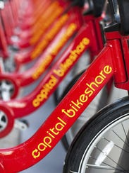 Capital Bikeshare bicycles lined up in Washington