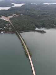 An aerial view of state highway 24 bridge over Hartwell Lake in Anderson.