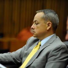 Detroit Police Officer Joseph Weekly seen during his trial on last week.