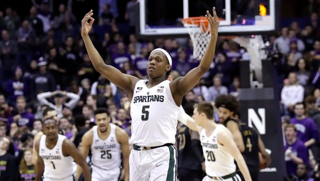 Cassius Winston reacts after making a 3-point basket against Northwestern during the second half of MSU's 65-60 win Feb. 17 in Rosemont, Ill.
