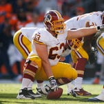Oct 27, 2013; Denver, CO, USA; Washington Redskins center Will Montgomery (63) during the game against the Denver Broncos at Sports Authority Field at Mile High. Mandatory Credit: Chris Humphreys-USA TODAY Sports