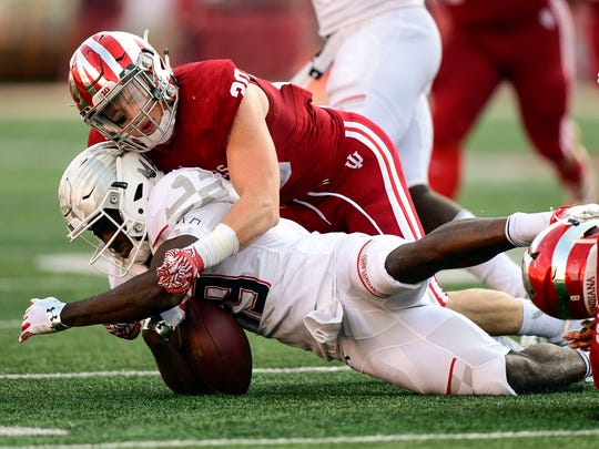 FILE – Chase Dutra leads the Hoosiers in tackles this