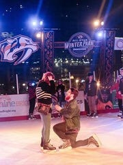"Andy Tomlinson proposed to his girlfriend of three years Dianna Jeanette Griffey on the outdoor skating rink near Bridgestone Arena. She said ""yes."""