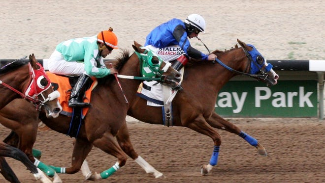 Hard Not To Sing, shown here winning her debut on April 29, was the fastest qualifier for Sunday's $104,000 New Mexico Breeders' Futurity at SunRay Park and Casino in Farmington.