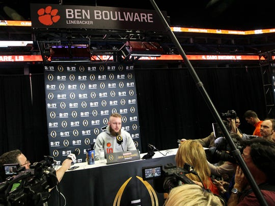 Clemson linebacker Ben Boulware answers a question during media day on Saturday in Tampa, Florida.
