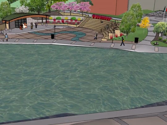 A still from a simulation video on the City of Brighton's website shows the Mill Pond and what the amphitheater area will look like after renovations are completed in 2018.