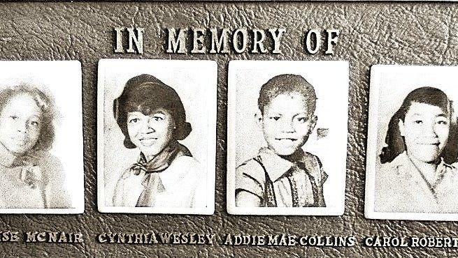 Monument honoring the four girls killed in the KKK's Sept. 15, 1963, bombing of a Birmingham church.