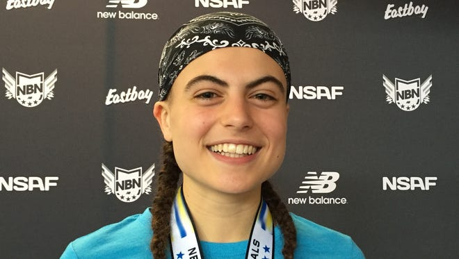 Brewster's Amelia Cuomo after setting Section 1 girls mile racewalk record