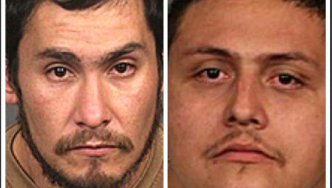 Fernando DeLaCruz, left, and Johnny Sanchez, right, are accused of stealing someone's identity.