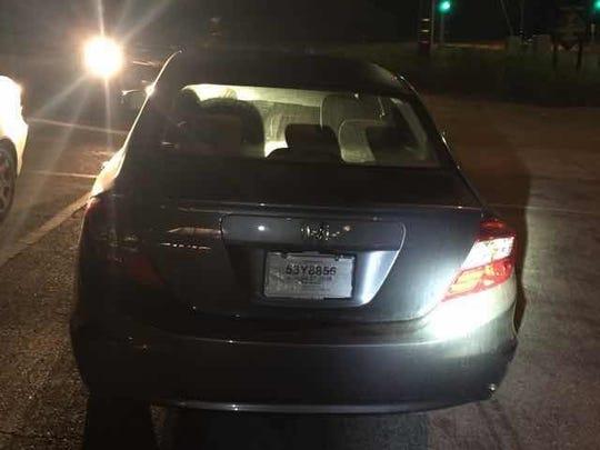Gray Honda Civic belonging to missing Ojai woman.