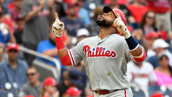 Philadelphia Phillies first baseman Carlos Santana (41) is putting together a quietly productive season.