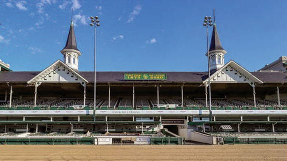 Churchill Downs sits empty in Louisville on Saturday, May 2. That's when the track was supposed to host the 146th running of the Kentucky Derby. (Louisville Courier-Journal) Churchill Downs sits empty in Louisville on May 4, the Saturday when the track was supposed to host the Kentucky Derby.