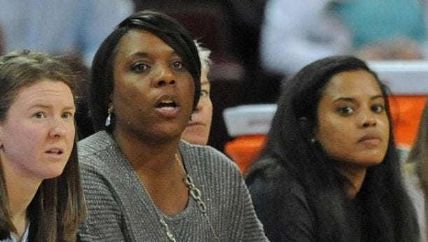 Ja'Net Vicks, center, an all-state player at Riverside High School and a four-year letterwinner at Presbyterian College, is the new girls basketball coach at Christ Church.