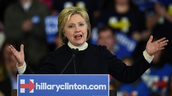 Hillary Clinton speaks in Hooksett, New Hampshire.