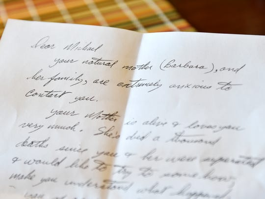 """A photocopy of an undated letter addressed to Mike Knudsen is shown. Mike Knudsen, 68, was formally adopted by his stepmother at age 6 or 7 and had grown up being told his birth mother, Barbara Denny, was not interested in contacting him. Only recently did Knudsen come to realize she spent much of her life trying to connect with him. The letter shown was written by Denny's fiance, who wrote that Denny had """"died a thousand deaths since you and her were separated"""" and asked Knudsen to consider contacting Denny."""
