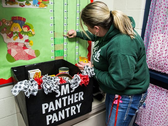 Southside Middle School students stuff bags with donated food in the school's pantry Friday morning.