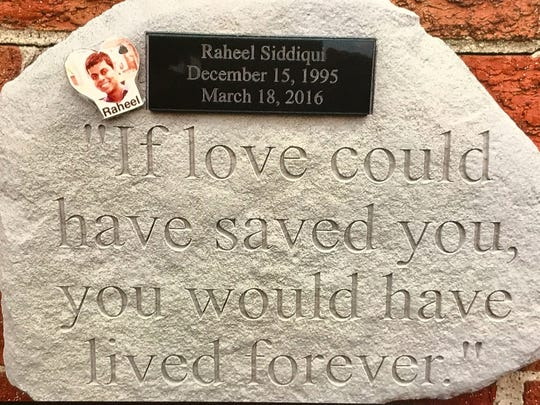 A special plaque was made by ex-coworkers of Raheel Siddiqui's from Home Depot and given to his family in remembrance of him.