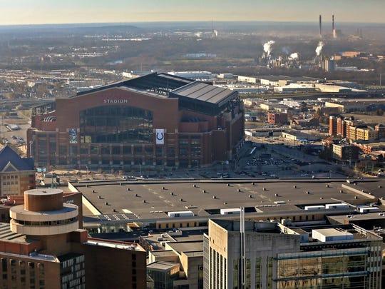 The Lucas Oil Stadium roof is seen stuck in the half-open position, Monday, Nov. 27, 2017.