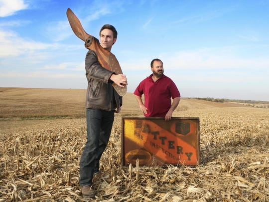 """""""American Pickers"""" stars Mike Wolfe, left, and Frank Fritz stopped in Tyrone during their travels through upstate New York."""