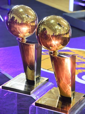 Larry O'Brien championship trophies at Los Angeles Lakers media day in 2016.