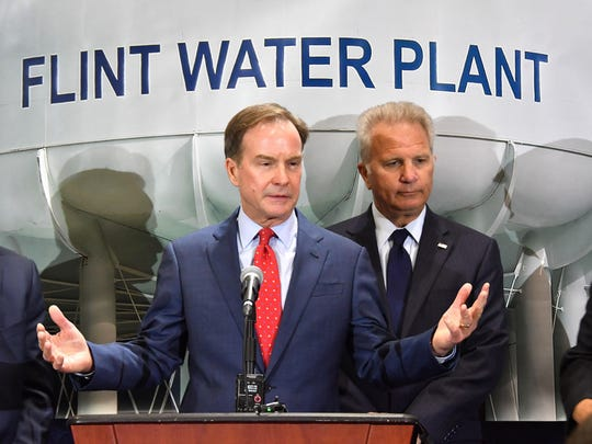 Michigan Attorney General Bill Schuette said Wednesday that Gov. Rick Snyder is not being charged with any crimes related to the Flint's lead-contaminated water but left the door open to the possibility.