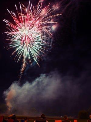 Spectators watch the fireworks in Denison in 2017.