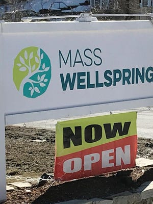 Mass Wellspring will likely open a retail marijuana store in early 2021 in Maynard. The company currently has a medical dispensary in Acton; the sign is shown here.