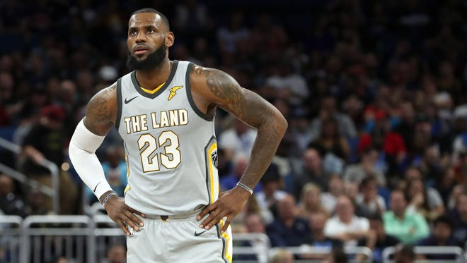 Cleveland Cavaliers forward LeBron James during the second quarter of a game at Amway Center.