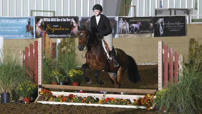 Avery Newman riding Patchwork Atlas at the Welsh Pony and Cob Society American National Championship Horse Show in Tulsa, Okla.