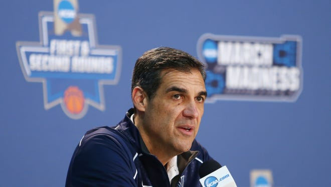 Mar 17, 2016; Brooklyn, NY, USA; Villanova Wildcats head coach Jay Wright speaks at a press conference during a practice day before the first round of the NCAA men's college basketball tournament at Barclays Center.