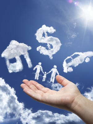 dreams in the sky: car,home,money and family