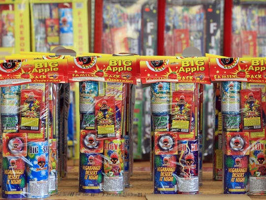 Packages of fireworks sit on a shelf at Big Zack's