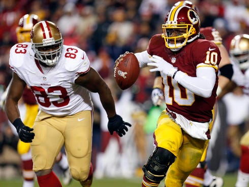Washington Redskins quarterback Robert Griffin is decompressing with the scout team.
