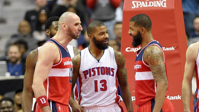 Former Suns (from left) Marcin Gortat, Marcus Morris and twin brother Markieff Morris reunite for the holidays – or the Wizards-Pistons game on Friday in Washington, D.C.