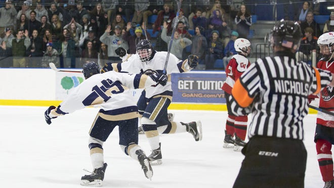 Essex celebrates a goal in the Division I boys hockey semifinal at the Essex Skating Facility in Essex on Tuesday.
