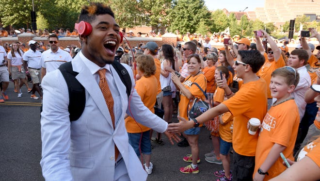 Tennessee wide receiver Jauan Jennings during the Vol Walk before the Tennessee vs. Ohio game Saturday, September 17, 2016 in Neyland Stadium.