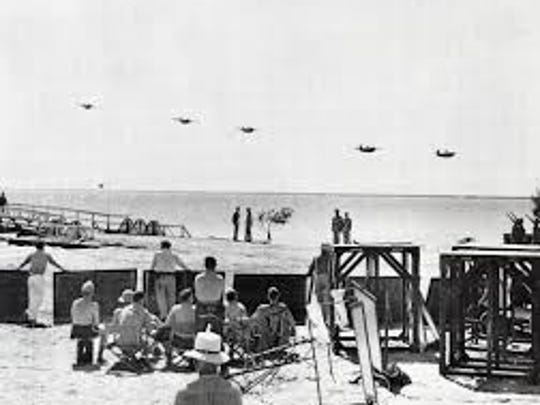 VMO-251 Wildcats fly over the Salton Sea during the filming of Wake Island