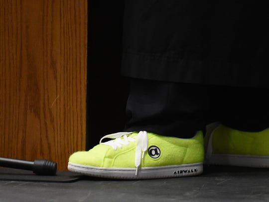 What does a tennis coach wear to graduation? Tennis ball shoes, of course. Cad Reed, the Wilson Memorial High School girls tennis coach since 2012 was the graduation speaker at the school's 2018 Commencement Ceremony at Eastern Mennonite University on Monday, May 21, 2018.