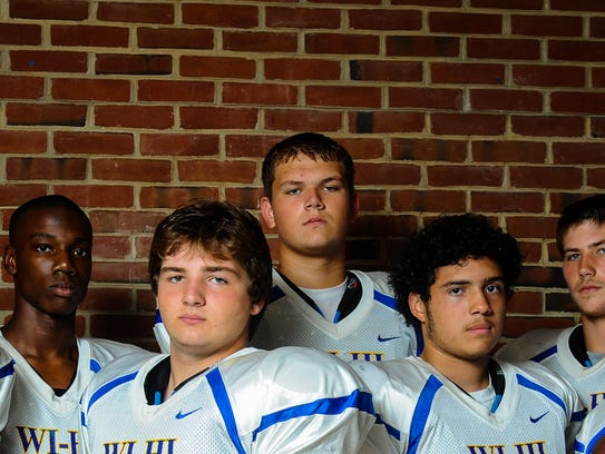Wicomico offensive lineman Andrew Houck (back row center)