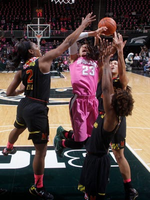 Michigan State's Aerial Powers (23) goes up for a shot under the basket against Maryland's Kiara Leslie (2), Laurin Mincy, right, and Brionna Jones, rear, during the first half Monday.
