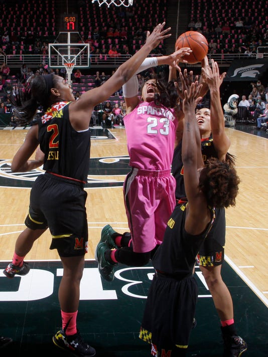 Michigan State's Aerial Powers (23) goes up for a shot under the basket against Maryland's Kiara Leslie (2), Laurin Mincy, right, and Brionna Jones, rear, during the first half of an NCAA college basketball game, Monday, Feb. 16, 2015, in East Lansing, Mich. (AP Photo/Al Goldis)