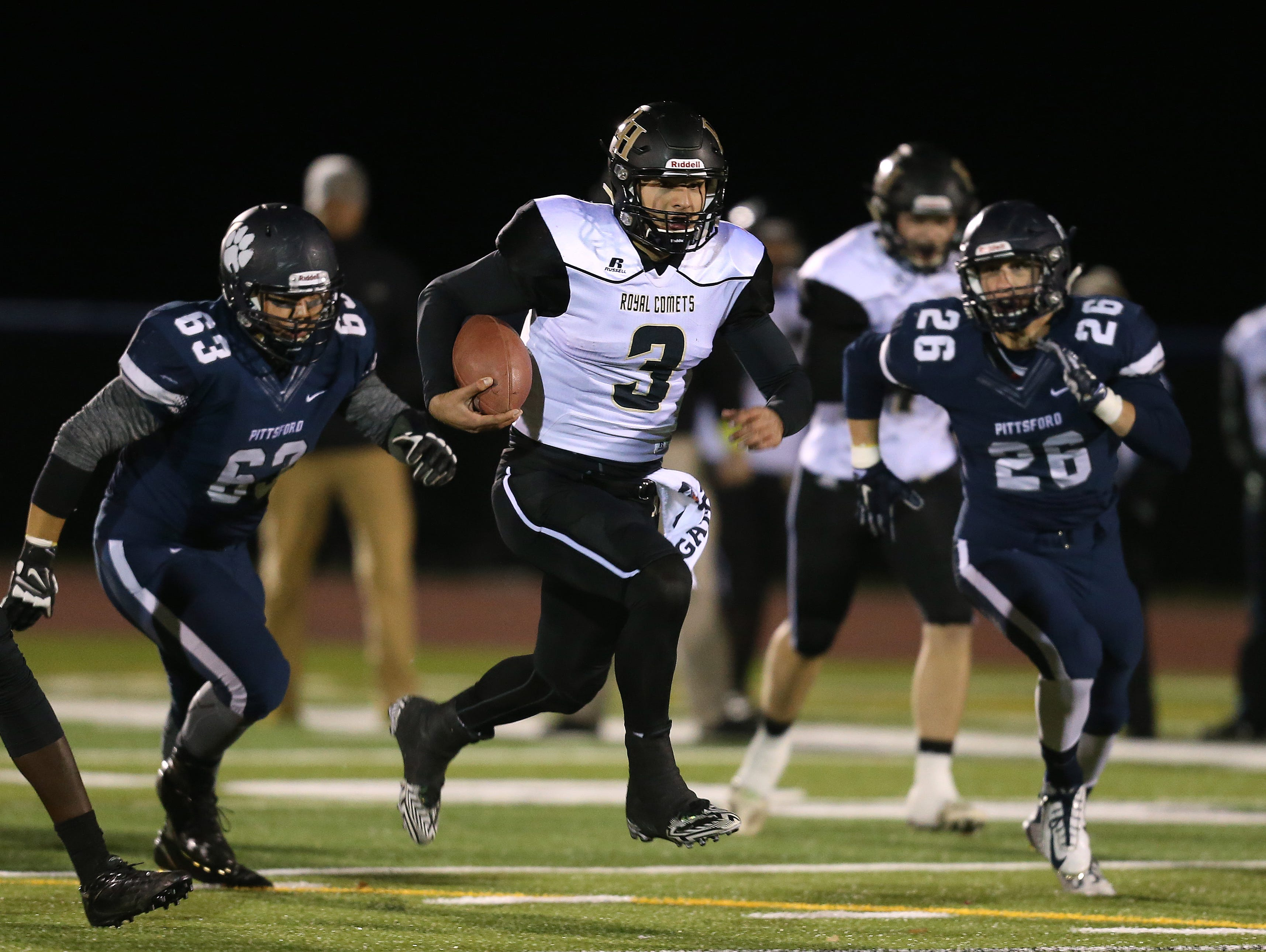 Rush-Henrietta quarterback Jared Gerbino, avoiding pressure applied by Pittsford's Jimmy Wilmett (63), helped the Royal Comets convert three third downs during the team's game-winning drive last weekend.